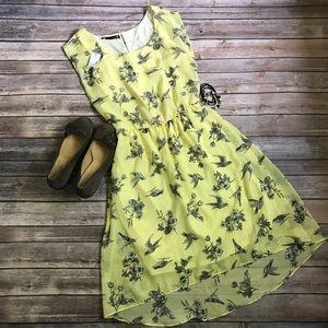 🆕 Maurice's XS yellow dress grey birds & flowers